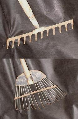 picture of draw rake (top) and scarifying rake (bottom)